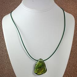 Freeform Green Baltic Amber Cord Necklace (Lithuania)