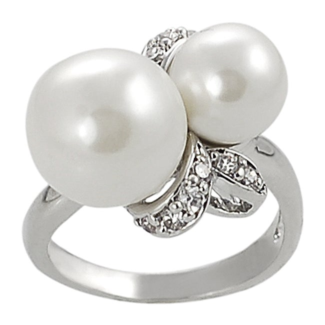 Silvertone Cubic Zirconia Faux Pearl Ring