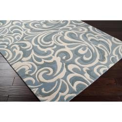 Candice Olson Hand-tufted Contemporary Blue/ Abstract Samnaun New Zealand Wool Abstract Rug (9' x 13')