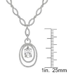 Miadora 14k White Gold 3ct TGW Topaz and 1 5/8ct TDW Diamond Necklace (G-H, SI2)