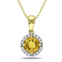 10k Yellow Gold Citrine and 1/10ct TDW Diamond Necklace (G-H, I2-I3)