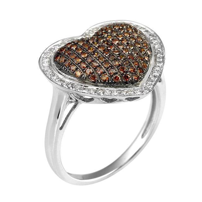 10k White Gold 3/4ct TDW Orange and White Diamond Ring (G-H, I1-I2)