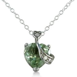 Sterling Silver 4ct TGW Green Amethyst and Diamond Accent Necklace