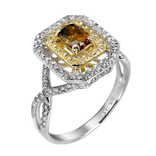14k White Gold 9/10ct TDW Brown and White Diamond Ring (G, SI2)