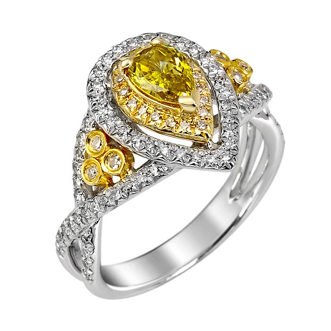 14k White Gold 4/5ct TDW Yellow and White Diamond Halo Ring (G, SI2)