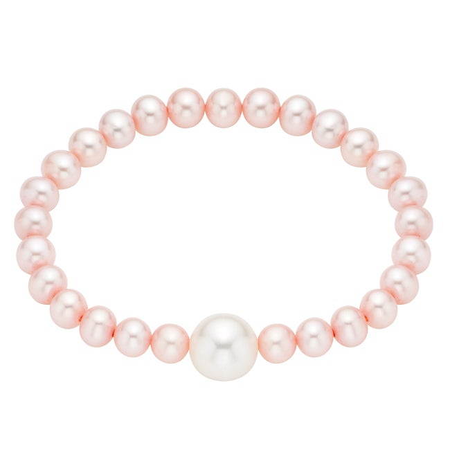 Eziba Collection Pearlyta Pink Pearl Baby Bracelet with White Center (4-6 mm) at Sears.com
