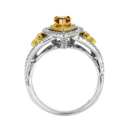 14k White Gold 3/4ct TDW Orange and White Diamond Ring (G, SI2)