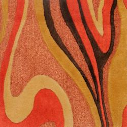 Candice Olson Hand-tufted Contemporary Red/Brown Striped Taurus New Zealand Wool Abstract Rug (9' x 13')