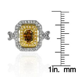 14k White Gold 9/10ct TDW Brown and White Diamond Ring (G, SI2)