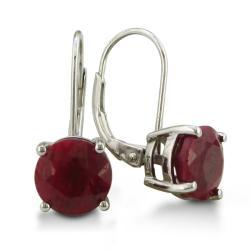 Sterling Silver 5ct Ruby Leverback Earrings
