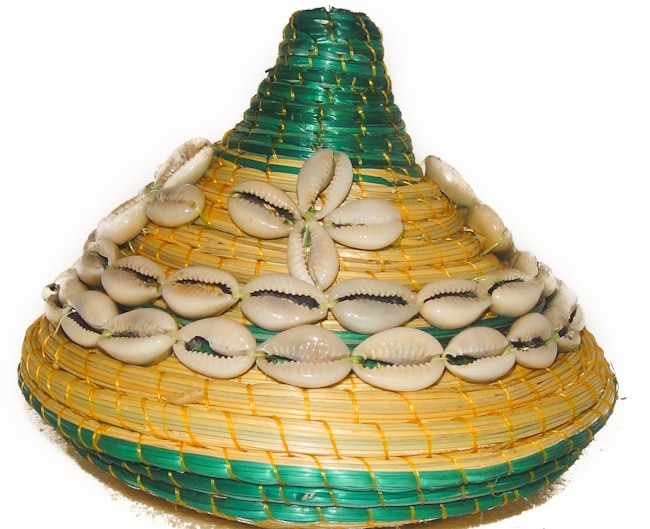 Cowrie Shell Green Round Wicker Basket (Ethiopia)