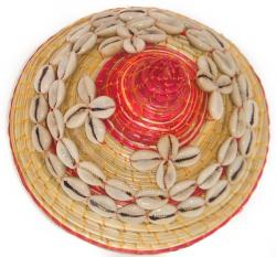 Cowrie Shell Red Round Wicker Basket (Ethiopia)