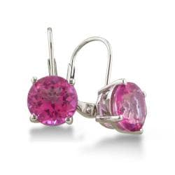Sterling Silver 5 ct Pink Topaz Leverback Earrings