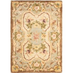 Handmade Aubusson Plaisir Ivory/ Light Blue Wool Rug (2' x 3')