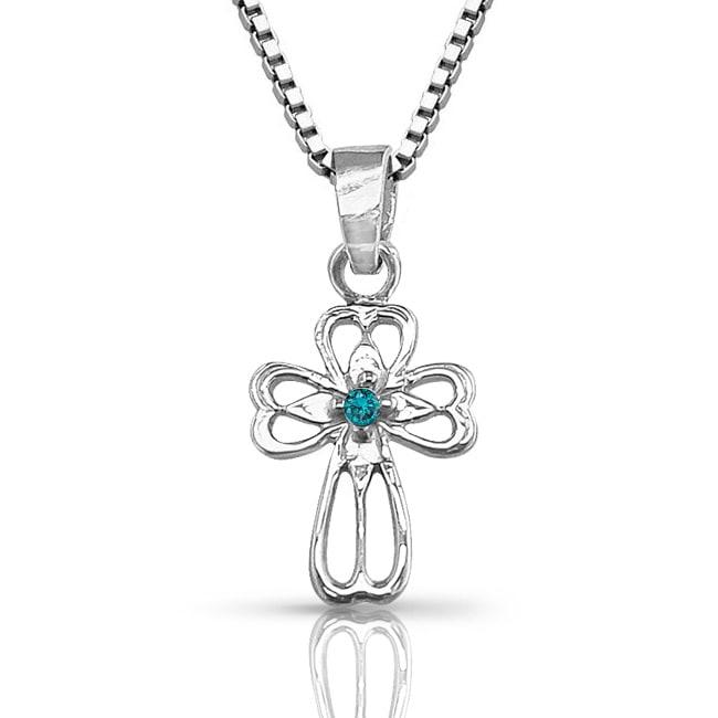 10k White Gold Diamond Accent Blue Diamond Cross Necklace