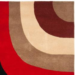 Handmade Rodeo Drive Eternity Red/ Grey/ Black Wool Rug (7'6 x 9'6)