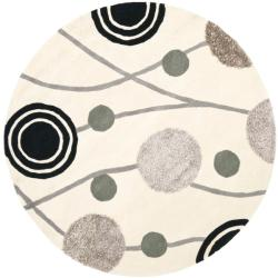 Handmade New Zealand Wool Galaxy Beige/ Grey Rug (6' Round)