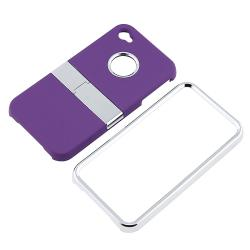 Purple with Chrome Stand Snap-on Case for Apple iPhone 4 AT&T/ Verizon
