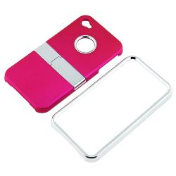 Pink Case with Chrome Stand/ Screen Protector for Apple iPhone 4S