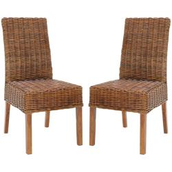 St Thomas Indoor Wicker Dark Brown Side Chairs (Set of 2)