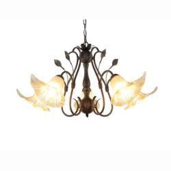 Hand-blown Glass 5-light Brushed Oak Finish Chandelier