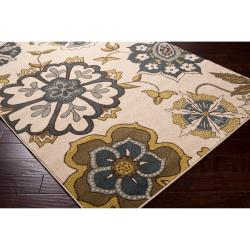 Meticulously Woven Contemporary Ivory Floral Finchley Rug (7'10 x 10')