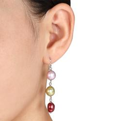 Silvertone Multi-colored Freshwater Pearl Dangle Earrings (8-9 mm)