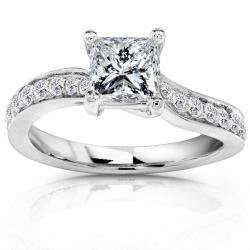 14k White Gold 7/8ct TDW Certified Diamond Engagement Ring (H-I, SI2)