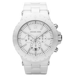 Michael Kors Women's White Chronograph Dial Ceramic Watch