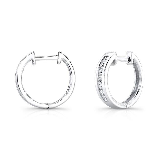 10k White Gold 1/6ct TDW Round Diamond Hoop Earrings (H-I, I1-I2)