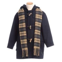 Nordic Country Boy's Navy Wool-blend Coat and Scarf