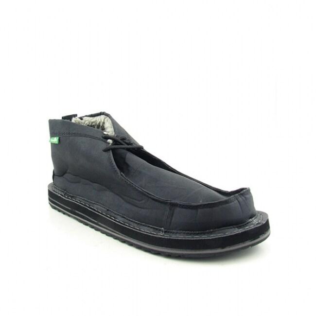 Sanuk Mens Dawn Patrol High Sidewalk Black Sandal Slip On Shoes