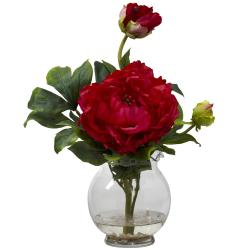 Peony Fluted Vase Silk Flower Arrangement