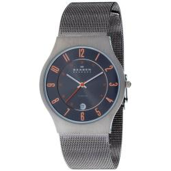 Skagen Men's Grey and Orange Accent Watch
