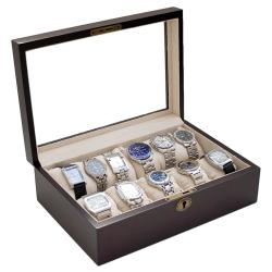 Caddy Bay Collection Vintage Dark Walnut Wood Glass Watch Case