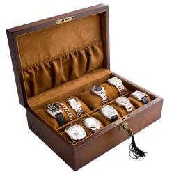 Vintage Brown Finish Wood Solid Top Watch Case