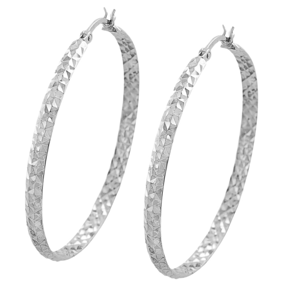 Fremada 14k White Gold 3x40-mm Diamond-cut Flat Hoop Earrings