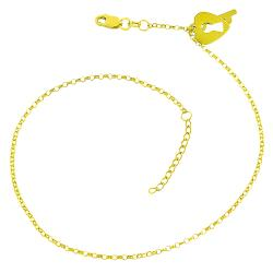 Fremada 14k Yellow Gold Heart and Key Adjustable Anklet