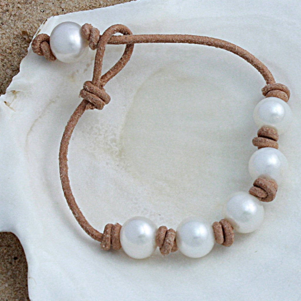 Handknotted White Freshwater Pearls Tan Leather Adjustable Bracelet (10mm) (USA)