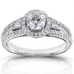 14k White Gold 1 1/5 ct TDW Certified Diamond Engagement Ring (F, SI2)