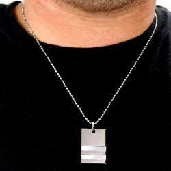 Stainless Steel High Polish Mother of Pearl Inlay Necklace