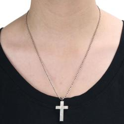Stainless Steel White Mother of Pearl Inlay Cross Necklace