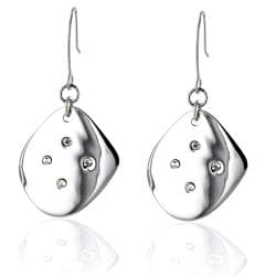 Stainless Steel Polished Cubic Zirconia Dangle Earrings