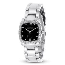 Skagen Denmark Women's Silver Link and Black Dial Watch
