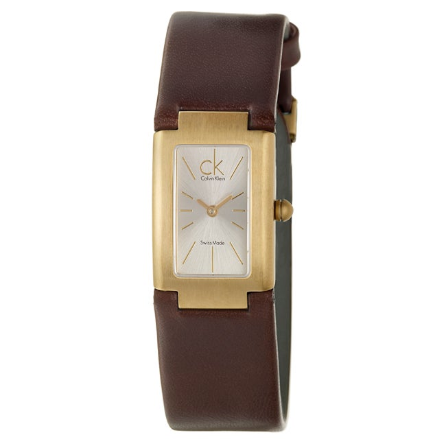 Calvin Klein Women's 'Dress' Yellow Gold-plated Stainless Steel-and-leather Swiss-quartz Watch