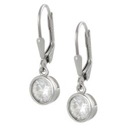 Tressa Sterling Silver 6-mm Round-cut Cubic Zirconia Dangle Earrings