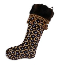 Simba Taupe-taline Fur Lined Trimmed Holiday Stocking