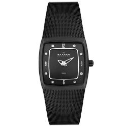 Skagen Women's Steel Crystal Black Mesh Black Dial Watch