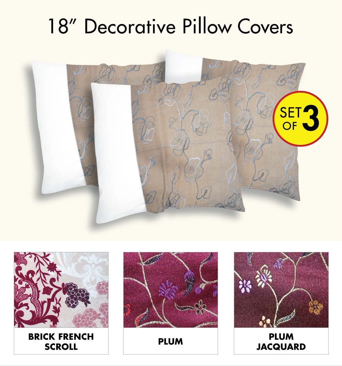 Decorative Pillow Cover 3 piece set)