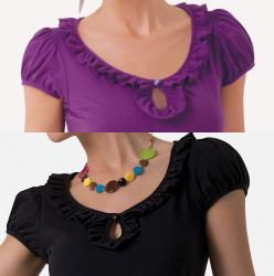Illusion Cotton Ruffle Cap-Sleeve Top